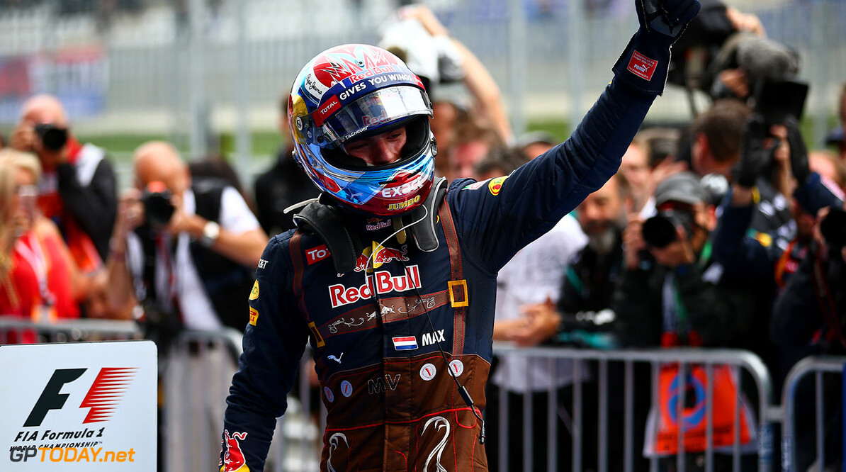SPIELBERG, AUSTRIA - JULY 03:  Max Verstappen of Netherlands and Red Bull Racing celebrates in parc ferme after finishing second in the Formula One Grand Prix of Austria at Red Bull Ring on July 3, 2016 in Spielberg, Austria.  (Photo by Dan Istitene/Getty Images) // Getty Images / Red Bull Content Pool  // P-20160703-03014 // Usage for editorial use only // Please go to www.redbullcontentpool.com for further information. //  F1 Grand Prix of Austria Dan Istitene Spielberg Germany  P-20160703-03014