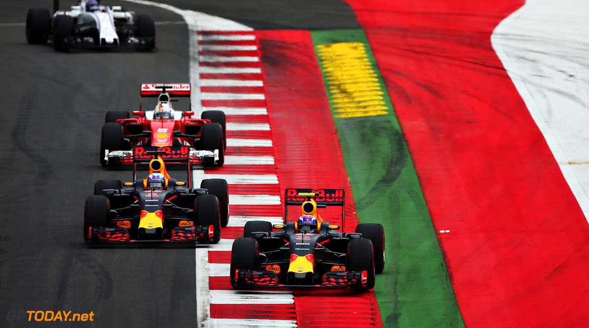 SPIELBERG, AUSTRIA - JULY 03: Max Verstappen of the Netherlands driving the (33) Red Bull Racing Red Bull-TAG Heuer RB12 TAG Heuer leads Daniel Ricciardo of Australia driving the (3) Red Bull Racing Red Bull-TAG Heuer RB12 TAG Heuer Sebastian Vettel of Germany driving the (5) Scuderia Ferrari SF16-H Ferrari 059/5 turbo (Shell GP) and Valtteri Bottas of Finland driving the (77) Williams Martini Racing Williams FW38 Mercedes PU106C Hybrid turbo on track during the Formula One Grand Prix of Austria at Red Bull Ring on July 3, 2016 in Spielberg, Austria.  (Photo by Dan Istitene/Getty Images) // Getty Images / Red Bull Content Pool  // P-20160703-01161 // Usage for editorial use only // Please go to www.redbullcontentpool.com for further information. //  F1 Grand Prix of Austria Dan Istitene Spielberg Germany  P-20160703-01161