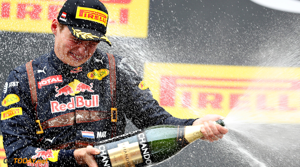 SPIELBERG, AUSTRIA - JULY 03:  Max Verstappen of Netherlands and Red Bull Racing celebrates on the podium during the Formula One Grand Prix of Austria at Red Bull Ring on July 3, 2016 in Spielberg, Austria.  (Photo by Mark Thompson/Getty Images) // Getty Images / Red Bull Content Pool  // P-20160704-00052 // Usage for editorial use only // Please go to www.redbullcontentpool.com for further information. //  F1 Grand Prix of Austria Mark Thompson Spielberg Germany  P-20160704-00052