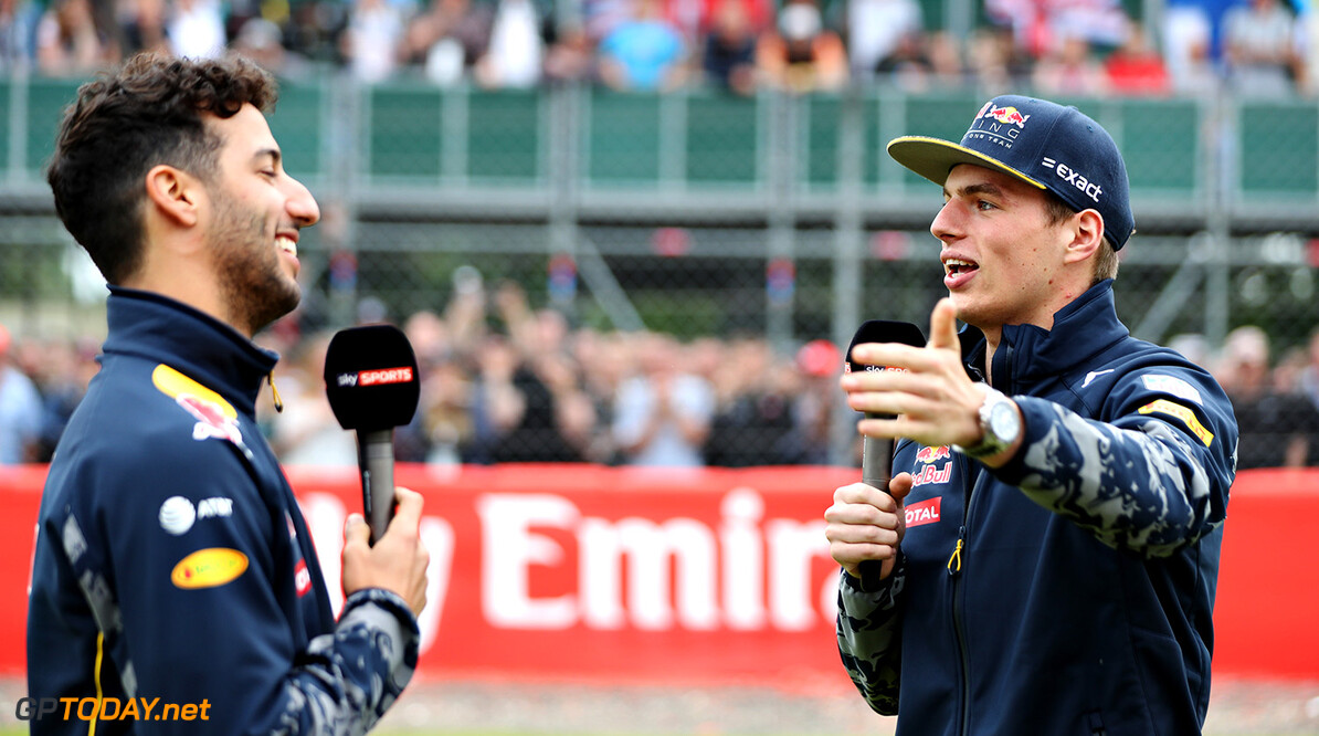 NORTHAMPTON, ENGLAND - JULY 07:  Daniel Ricciardo of Australia and Red Bull Racing and Max Verstappen of Netherlands and Red Bull Racing talks to the fans during previews ahead of the Formula One Grand Prix of Great Britain at Silverstone on July 7, 2016 in Northampton, England.  (Photo by Mark Thompson/Getty Images) // Getty Images / Red Bull Content Pool  // P-20160707-01114 // Usage for editorial use only // Please go to www.redbullcontentpool.com for further information. //  F1 Grand Prix of Great Britain - Previews Mark Thompson Silverstone United Kingdom  P-20160707-01114