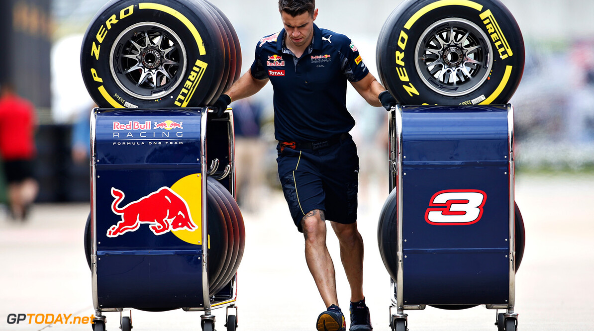 NORTHAMPTON, ENGLAND - JULY 07: A Red Bull Racing mehcanic pushes tyre trolleys in the Paddock during previews ahead of the Formula One Grand Prix of Great Britain at Silverstone on July 7, 2016 in Northampton, England.  (Photo by Charles Coates/Getty Images) // Getty Images / Red Bull Content Pool  // P-20160707-00915 // Usage for editorial use only // Please go to www.redbullcontentpool.com for further information. //  F1 Grand Prix of Great Britain - Previews Charles Coates Silverstone United Kingdom  P-20160707-00915