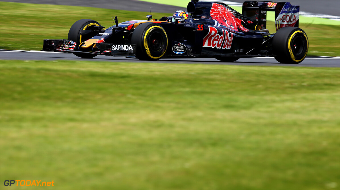 NORTHAMPTON, ENGLAND - JULY 08: Carlos Sainz of Spain driving the (55) Scuderia Toro Rosso STR11 Ferrari 060/5 turbo on track during practice for the Formula One Grand Prix of Great Britain at Silverstone on July 8, 2016 in Northampton, England.  (Photo by Charles Coates/Getty Images) // Getty Images / Red Bull Content Pool  // P-20160708-01636 // Usage for editorial use only // Please go to www.redbullcontentpool.com for further information. //  F1 Grand Prix of Great Britain - Practice Charles Coates Silverstone United Kingdom  P-20160708-01636