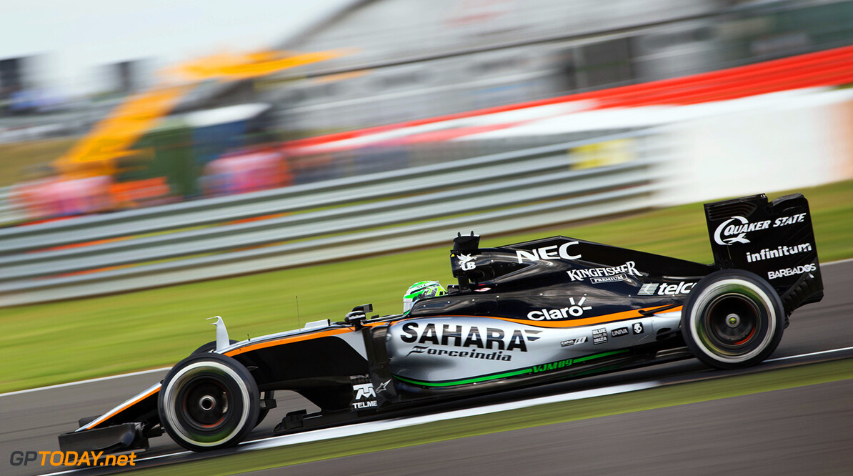 Formula One World Championship Nico Hulkenberg (GER) Sahara Force India F1 VJM09. British Grand Prix, Friday 8th July 2016. Silverstone, England. Motor Racing - Formula One World Championship - British Grand Prix - Practice Day - Silverstone, England James Moy Photography Silverstone England  Formula One Formula 1 F1 GP Grand Prix Circuit Britain British England UK United Kingdom Silverstone JM595 Hulkenberg H?lkenberg Huelkenberg Action Track GP1610b