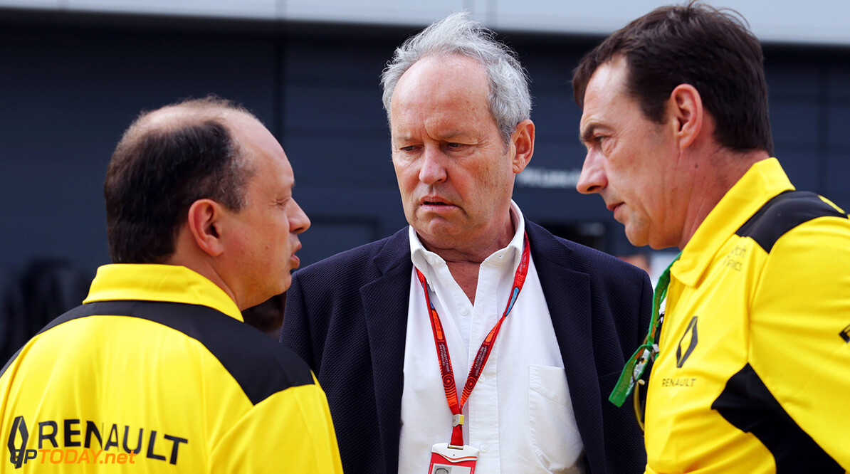 Formula One World Championship Frederic Vasseur (FRA) Renault Sport F1 Team Racing Director (Left) and Jerome Stoll (FRA) Renault Sport F1 President (Centre). British Grand Prix, Friday 8th July 2016. Silverstone, England. Motor Racing - Formula One World Championship - British Grand Prix - Practice Day - Silverstone, England Renault Sport Formula One Team Silverstone England  Formula One Formula 1 F1 GP Grand Prix Circuit Britain British England UK United Kingdom Silverstone JM595 Portrait GP1610b
