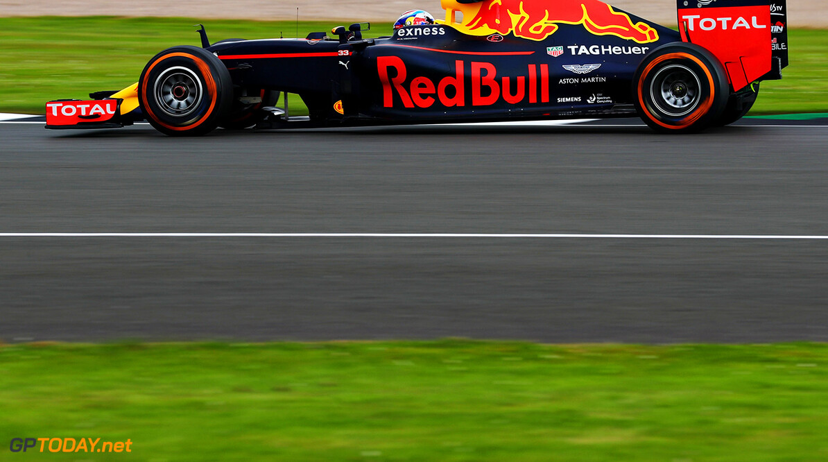 NORTHAMPTON, ENGLAND - JULY 08: Max Verstappen of the Netherlands driving the (33) Red Bull Racing Red Bull-TAG Heuer RB12 TAG Heuer on track during practice for the Formula One Grand Prix of Great Britain at Silverstone on July 8, 2016 in Northampton, England.  (Photo by Clive Mason/Getty Images) // Getty Images / Red Bull Content Pool  // P-20160708-00478 // Usage for editorial use only // Please go to www.redbullcontentpool.com for further information. //  F1 Grand Prix of Great Britain - Practice Clive Mason Silverstone United Kingdom  P-20160708-00478