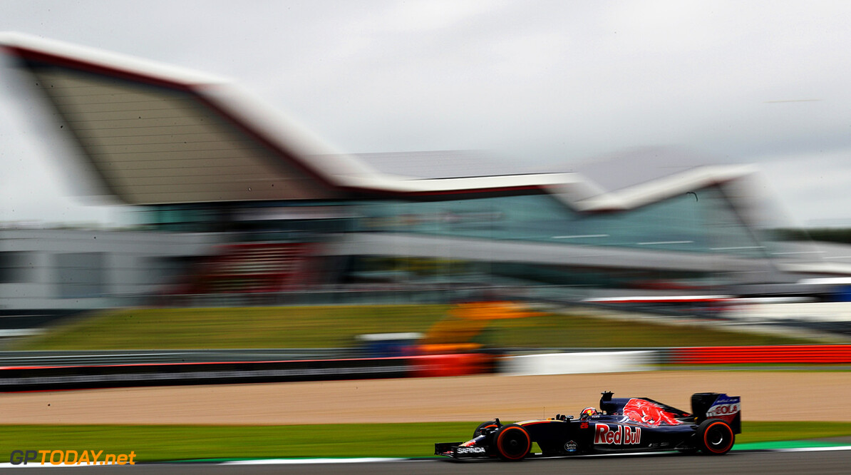 NORTHAMPTON, ENGLAND - JULY 08: Daniil Kvyat of Russia driving the (26) Scuderia Toro Rosso STR11 Ferrari 060/5 turbo on track during practice for the Formula One Grand Prix of Great Britain at Silverstone on July 8, 2016 in Northampton, England.  (Photo by Clive Mason/Getty Images) // Getty Images / Red Bull Content Pool  // P-20160708-00465 // Usage for editorial use only // Please go to www.redbullcontentpool.com for further information. //  F1 Grand Prix of Great Britain - Practice Clive Mason Silverstone United Kingdom  P-20160708-00465