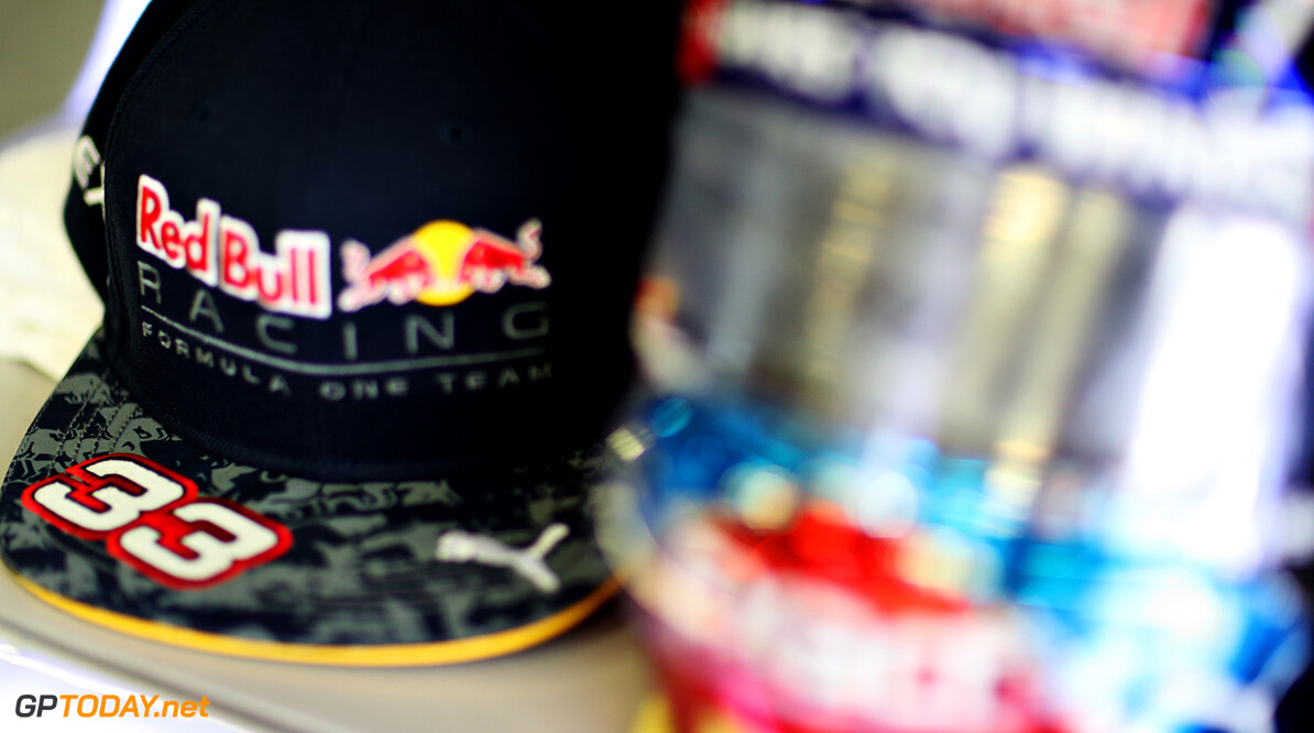 NORTHAMPTON, ENGLAND - JULY 08: The cap and helmet of Max Verstappen of Netherlands and Red Bull Racing in the garage during practice for the Formula One Grand Prix of Great Britain at Silverstone on July 8, 2016 in Northampton, England.  (Photo by Mark Thompson/Getty Images) // Getty Images / Red Bull Content Pool  // P-20160708-00623 // Usage for editorial use only // Please go to www.redbullcontentpool.com for further information. //  F1 Grand Prix of Great Britain - Practice Mark Thompson Silverstone United Kingdom  P-20160708-00623