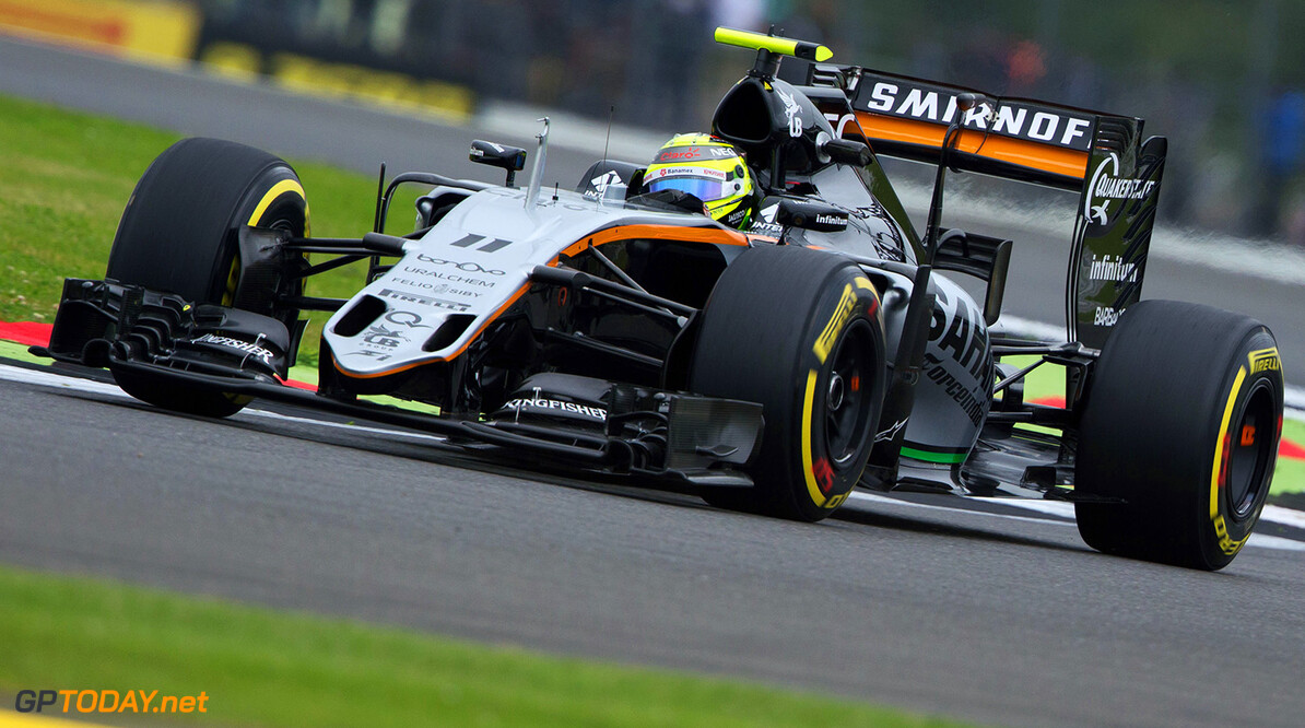 Formula One World Championship Sergio Perez (MEX) Sahara Force India F1 VJM09. British Grand Prix, Friday 8th July 2016. Silverstone, England. Motor Racing - Formula One World Championship - British Grand Prix - Practice Day - Silverstone, England James Moy Photography Silverstone England  Formula One Formula 1 F1 GP Grand Prix Circuit Britain British England UK United Kingdom Silverstone JM595 Sergio P?rez Sergio P?rez Mendoza Checo Perez Checo P?rez Action Track GP1610b