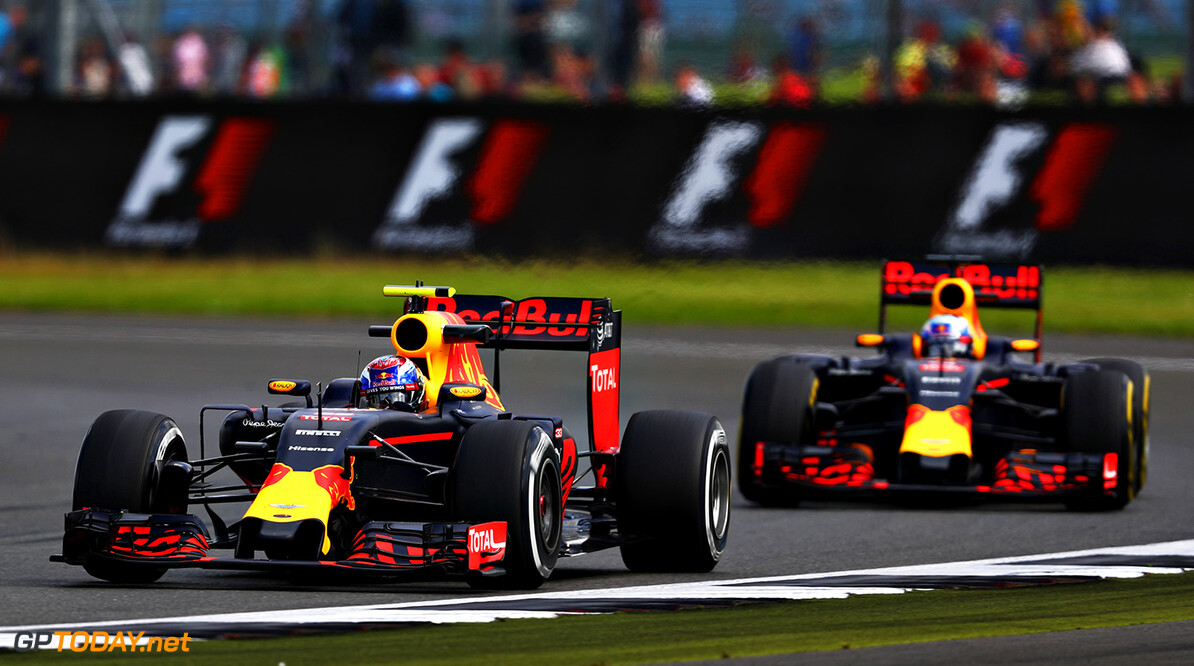 NORTHAMPTON, ENGLAND - JULY 08: Max Verstappen of the Netherlands driving the (33) Red Bull Racing Red Bull-TAG Heuer RB12 TAG Heuer leads Daniel Ricciardo of Australia driving the (3) Red Bull Racing Red Bull-TAG Heuer RB12 TAG Heuer on track during practice for the Formula One Grand Prix of Great Britain at Silverstone on July 8, 2016 in Northampton, England.  (Photo by Clive Mason/Getty Images) // Getty Images / Red Bull Content Pool  // P-20160708-01156 // Usage for editorial use only // Please go to www.redbullcontentpool.com for further information. //  F1 Grand Prix of Great Britain - Practice Clive Mason Silverstone United Kingdom  P-20160708-01156