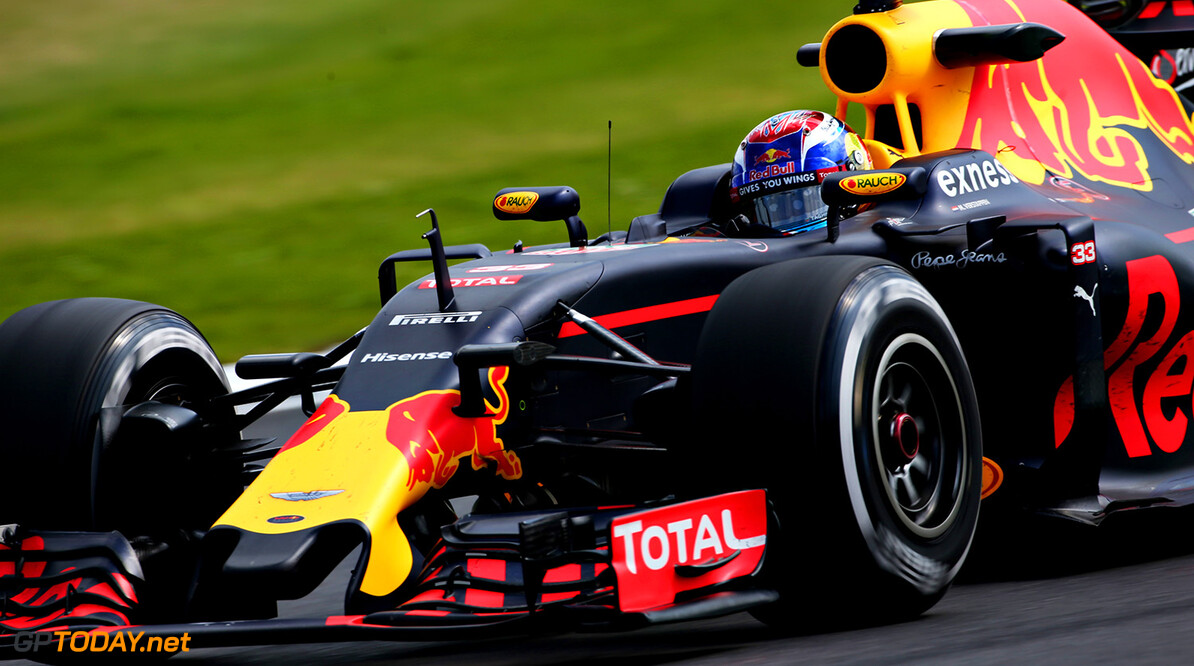 NORTHAMPTON, ENGLAND - JULY 08: Max Verstappen of the Netherlands driving the (33) Red Bull Racing Red Bull-TAG Heuer RB12 TAG Heuer on track during practice for the Formula One Grand Prix of Great Britain at Silverstone on July 8, 2016 in Northampton, England.  (Photo by Charles Coates/Getty Images) // Getty Images / Red Bull Content Pool  // P-20160708-01517 // Usage for editorial use only // Please go to www.redbullcontentpool.com for further information. //  F1 Grand Prix of Great Britain - Practice Charles Coates Silverstone United Kingdom  P-20160708-01517