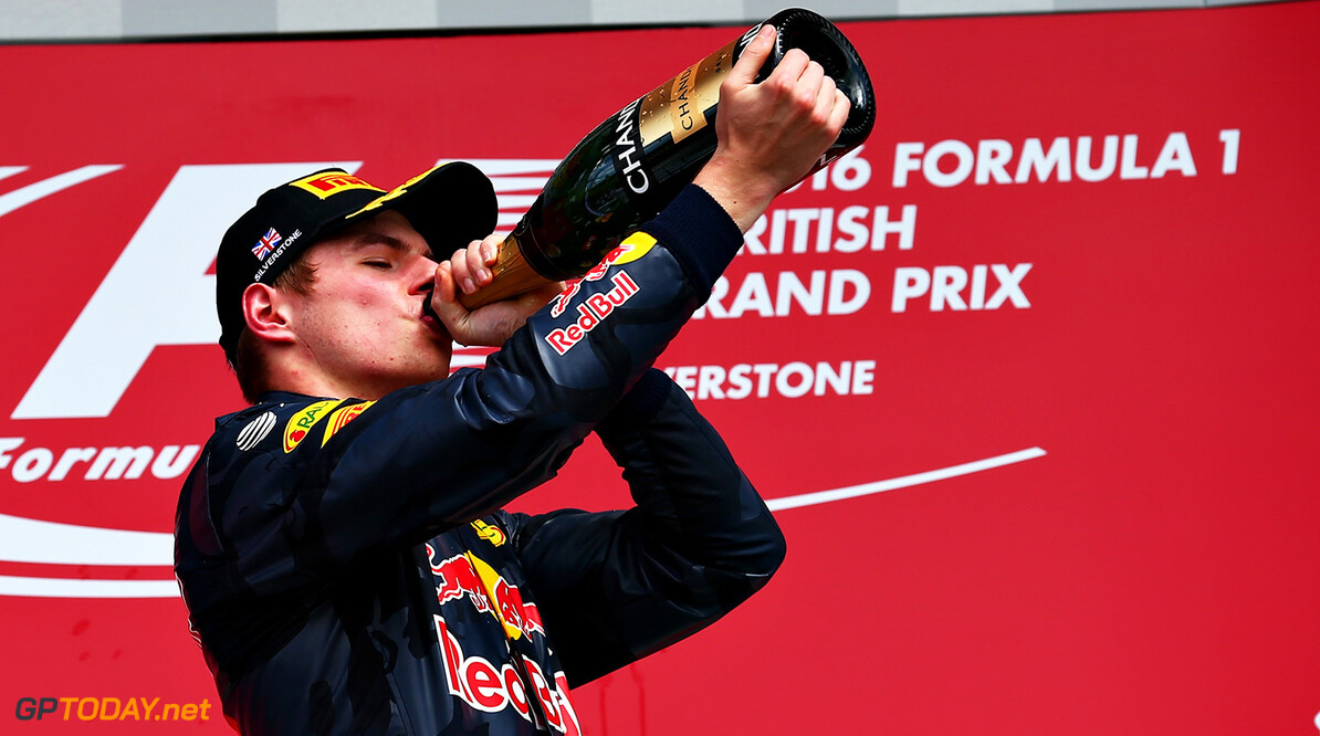 NORTHAMPTON, ENGLAND - JULY 10:  Max Verstappen of Netherlands and Red Bull Racing celebrates on the podium during the Formula One Grand Prix of Great Britain at Silverstone on July 10, 2016 in Northampton, England.  (Photo by Getty Images/Getty Images) // Getty Images / Red Bull Content Pool  // P-20160710-01085 // Usage for editorial use only // Please go to www.redbullcontentpool.com for further information. //  F1 Grand Prix of Great Britain Getty Images Silverstone United Kingdom  P-20160710-01085