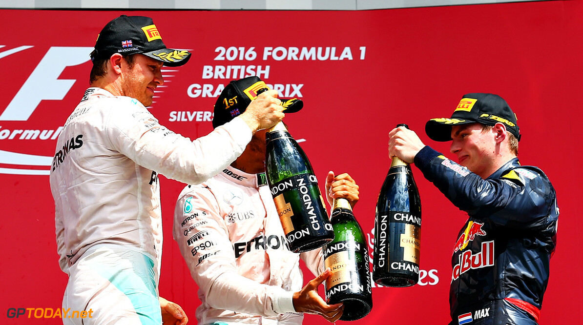 NORTHAMPTON, ENGLAND - JULY 10: Lewis Hamilton of Great Britain and Mercedes GP, Nico Rosberg of Germany and Mercedes GP and Max Verstappen of Netherlands and Red Bull Racing celebrate on the podium during the Formula One Grand Prix of Great Britain at Silverstone on July 10, 2016 in Northampton, England.  (Photo by Getty Images/Getty Images) // Getty Images / Red Bull Content Pool  // P-20160710-01158 // Usage for editorial use only // Please go to www.redbullcontentpool.com for further information. //  F1 Grand Prix of Great Britain Getty Images Silverstone United Kingdom  P-20160710-01158