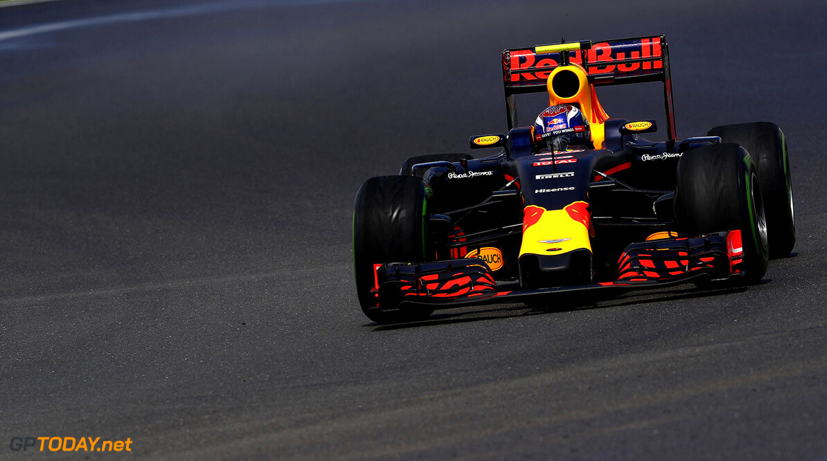 NORTHAMPTON, ENGLAND - JULY 10: Max Verstappen of the Netherlands driving the (33) Red Bull Racing Red Bull-TAG Heuer RB12 TAG Heuer on track during the Formula One Grand Prix of Great Britain at Silverstone on July 10, 2016 in Northampton, England.  (Photo by Clive Mason/Getty Images) // Getty Images / Red Bull Content Pool  // P-20160710-01284 // Usage for editorial use only // Please go to www.redbullcontentpool.com for further information. //  F1 Grand Prix of Great Britain Clive Mason Silverstone United Kingdom  P-20160710-01284
