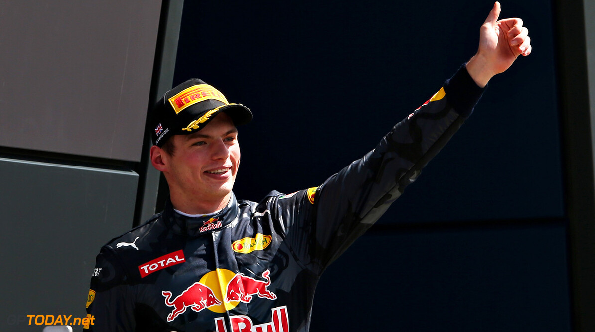 NORTHAMPTON, ENGLAND - JULY 10:  Max Verstappen of Netherlands and Red Bull Racing celebrates on the podium during the Formula One Grand Prix of Great Britain at Silverstone on July 10, 2016 in Northampton, England.  (Photo by Charles Coates/Getty Images) // Getty Images / Red Bull Content Pool  // P-20160710-01079 // Usage for editorial use only // Please go to www.redbullcontentpool.com for further information. //  F1 Grand Prix of Great Britain Charles Coates Silverstone United Kingdom  P-20160710-01079