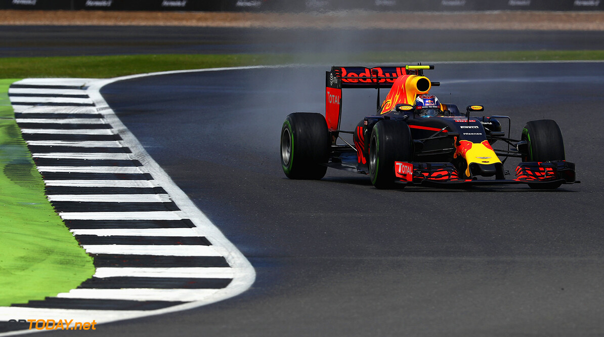 NORTHAMPTON, ENGLAND - JULY 10:  Max Verstappen of the Netherlands driving the (33) Red Bull Racing Red Bull-TAG Heuer RB12 TAG Heuer on track during the Formula One Grand Prix of Great Britain at Silverstone on July 10, 2016 in Northampton, England.  (Photo by Clive Mason/Getty Images) // Getty Images / Red Bull Content Pool  // P-20160710-01287 // Usage for editorial use only // Please go to www.redbullcontentpool.com for further information. //  F1 Grand Prix of Great Britain Clive Mason Silverstone United Kingdom  P-20160710-01287