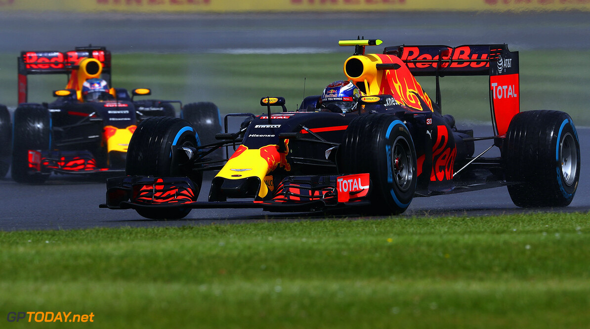 NORTHAMPTON, ENGLAND - JULY 10:  Max Verstappen of the Netherlands driving the (33) Red Bull Racing Red Bull-TAG Heuer RB12 TAG Heuer leads Daniel Ricciardo of Australia driving the (3) Red Bull Racing Red Bull-TAG Heuer RB12 TAG Heuer on track during the Formula One Grand Prix of Great Britain at Silverstone on July 10, 2016 in Northampton, England.  (Photo by Clive Mason/Getty Images) // Getty Images / Red Bull Content Pool  // P-20160710-01264 // Usage for editorial use only // Please go to www.redbullcontentpool.com for further information. //  F1 Grand Prix of Great Britain Clive Mason Silverstone United Kingdom  P-20160710-01264
