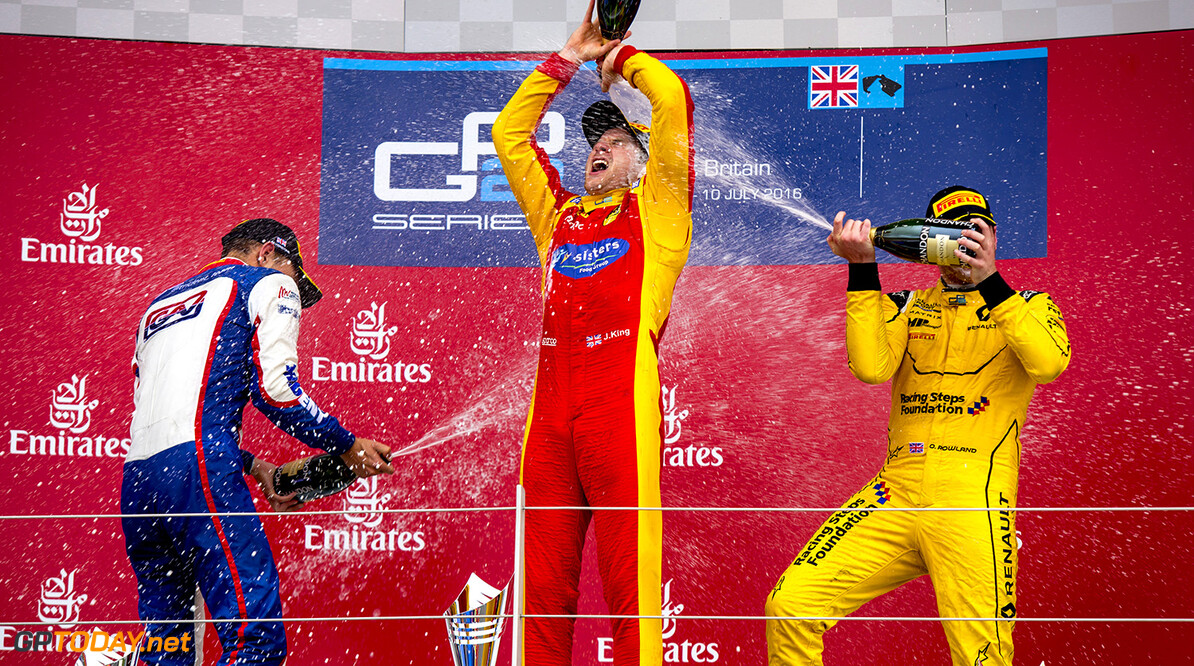 2016 GP2 Series Round 5.  Silverstone, Northamptonshire, UK. Sunday 10 July 2016. Luca Ghiotto (ITA, Trident), Jordan King (GBR, Racing Engineering) and Oliver Rowland (GBR, MP Motorsport)  Photo: Zak Mauger/GP2 Series Media Service. ref: Digital Image _79P7951   Zak Mauger    Race Two 2 Sprint podium portrait