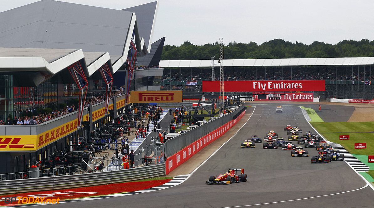2016 GP2 Series Round 5.  Silverstone, Northamptonshire, UK. Saturday 9 July 2016. Norman Nato (FRA, Racing Engineering) leads the field at the start of the race. Photo: Ebrey/GP2 Series Media Service. ref: Digital Image _ED16835   Ebrey    Race One 1 Feature action