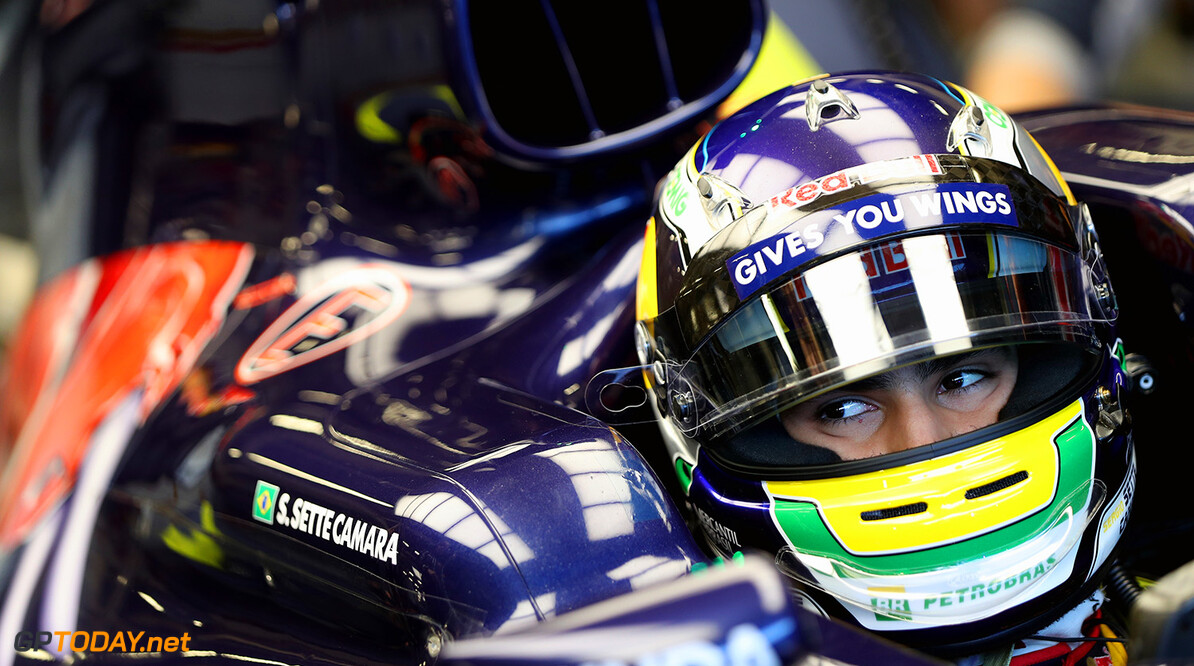 NORTHAMPTON, ENGLAND - JULY 13:  Sergio Sette Camara of Brazil prepares to drive the Scuderia Toro Rosso STR11 Ferrari 060/5 turbo during F1 testing at Silverstone Circuit on July 12, 2016 in Northampton, England.  (Photo by Mark Thompson/Getty Images) // Getty Images / Red Bull Content Pool  // P-20160713-00759 // Usage for editorial use only // Please go to www.redbullcontentpool.com for further information. //  F1 Testing at Silverstone Mark Thompson Silverstone United Kingdom  P-20160713-00759