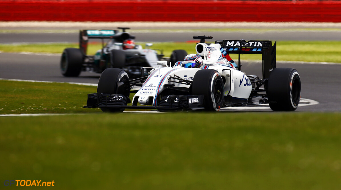 Silverstone, Northamptonshire, UK. Tuesday 12 July 2016. Alex Lynn, Williams FW38 Mercedes, leads Esteban Ocon, Mercedes F1 W07 Hybrid.  Photo: Zak Mauger/Wiliams F1 ref: Digital Image _79P9393  Zak Mauger    f1 formula 1 formula one gb great britain test testing action""