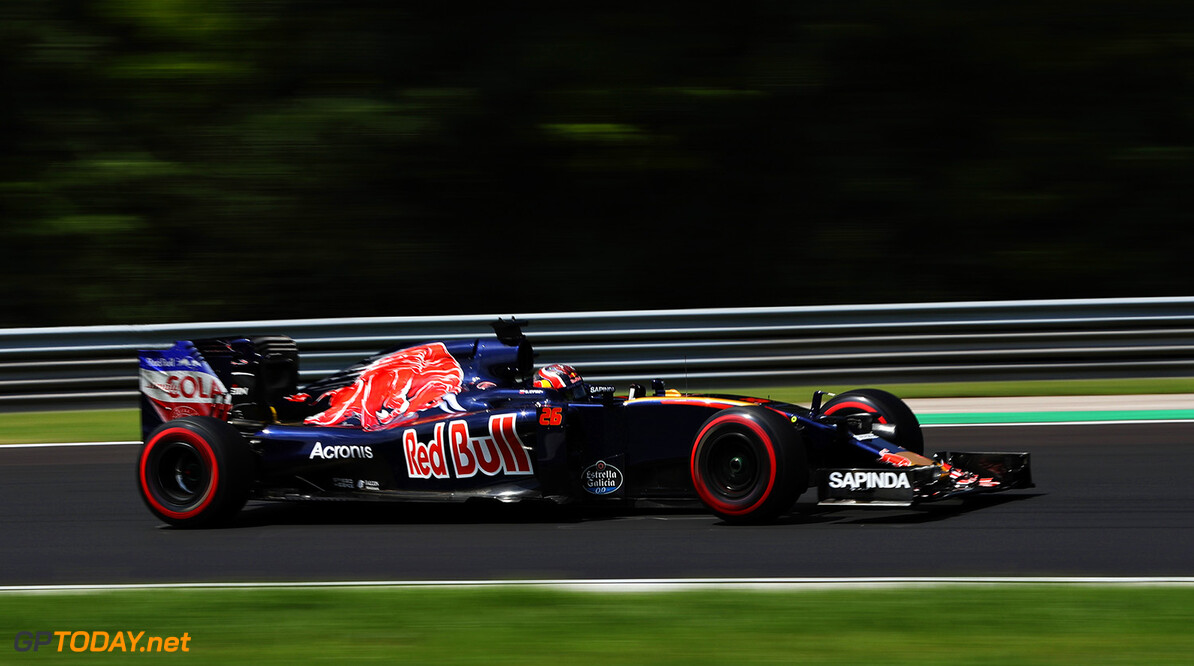 BUDAPEST, HUNGARY - JULY 23: Daniil Kvyat of Russia driving the (26) Scuderia Toro Rosso STR11 Ferrari 060/5 turbo on track during final practice for the Formula One Grand Prix of Hungary at Hungaroring on July 23, 2016 in Budapest, Hungary.  (Photo by Mark Thompson/Getty Images) // Getty Images / Red Bull Content Pool  // P-20160723-01411 // Usage for editorial use only // Please go to www.redbullcontentpool.com for further information. //  F1 Grand Prix of Hungary - Qualifying Mark Thompson Budapest Hungary  P-20160723-01411