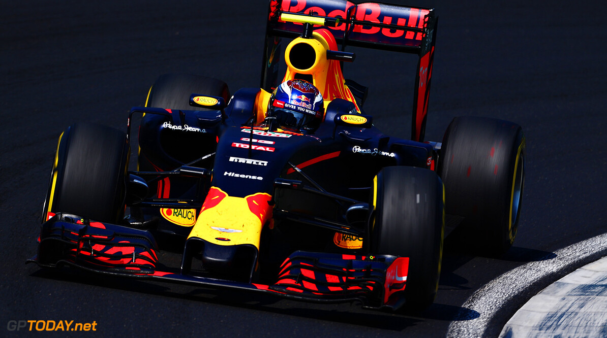 BUDAPEST, HUNGARY - JULY 24:  Max Verstappen of the Netherlands driving the (33) Red Bull Racing Red Bull-TAG Heuer RB12 TAG Heuer on track during the Formula One Grand Prix of Hungary at Hungaroring on July 24, 2016 in Budapest, Hungary.  (Photo by Charles Coates/Getty Images) // Getty Images / Red Bull Content Pool  // P-20160724-00538 // Usage for editorial use only // Please go to www.redbullcontentpool.com for further information. //  F1 Grand Prix of Hungary Charles Coates Budapest Hungary  P-20160724-00538
