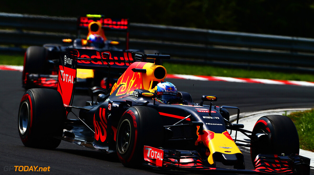 BUDAPEST, HUNGARY - JULY 24:  Daniel Ricciardo of Australia driving the (3) Red Bull Racing Red Bull-TAG Heuer RB12 TAG Heuer leads Max Verstappen of the Netherlands driving the (33) Red Bull Racing Red Bull-TAG Heuer RB12 TAG Heuer on track during the Formula One Grand Prix of Hungary at Hungaroring on July 24, 2016 in Budapest, Hungary.  (Photo by Charles Coates/Getty Images) // Getty Images / Red Bull Content Pool  // P-20160724-00361 // Usage for editorial use only // Please go to www.redbullcontentpool.com for further information. //  F1 Grand Prix of Hungary Charles Coates Budapest Hungary  P-20160724-00361