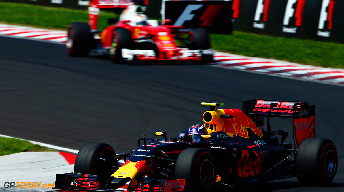 BUDAPEST, HUNGARY - JULY 24:Max Verstappen of the Netherlands driving the (33) Red Bull Racing Red Bull-TAG Heuer RB12 TAG Heuer leads Sebastian Vettel of Germany driving the (5) Scuderia Ferrari SF16-H Ferrari 059/5 turbo (Shell GP) on track  during the Formula One Grand Prix of Hungary at Hungaroring on July 24, 2016 in Budapest, Hungary.  (Photo by Dan Istitene/Getty Images) // Getty Images / Red Bull Content Pool  // P-20160724-00445 // Usage for editorial use only // Please go to www.redbullcontentpool.com for further information. //  F1 Grand Prix of Hungary Dan Istitene Budapest Hungary  P-20160724-00445