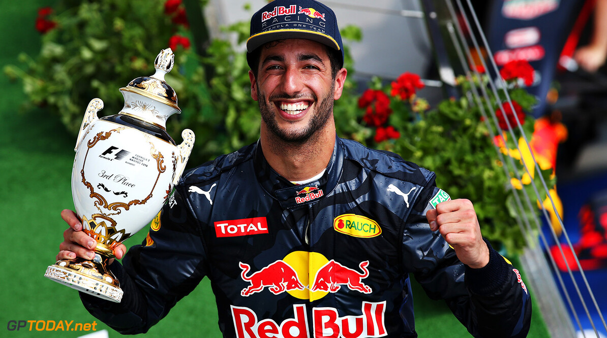 BUDAPEST, HUNGARY - JULY 24:  Daniel Ricciardo of Australia and Red Bull Racing with his trophy for third place on the podium during the Formula One Grand Prix of Hungary at Hungaroring on July 24, 2016 in Budapest, Hungary.  (Photo by Charles Coates/Getty Images) // Getty Images / Red Bull Content Pool  // P-20160724-00724 // Usage for editorial use only // Please go to www.redbullcontentpool.com for further information. //  F1 Grand Prix of Hungary Charles Coates Budapest Hungary  P-20160724-00724