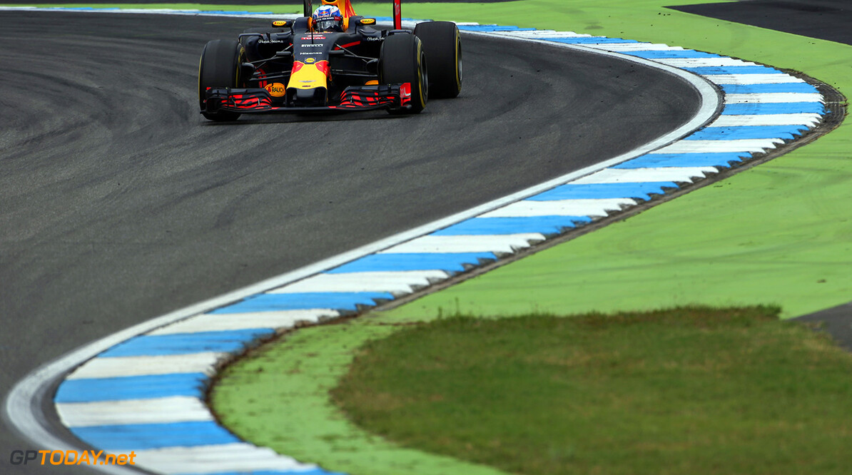 HOCKENHEIM, GERMANY - JULY 29: Daniel Ricciardo of Australia driving the (3) Red Bull Racing Red Bull-TAG Heuer RB12 TAG Heuer on track during practice for the Formula One Grand Prix of Germany at Hockenheimring on July 29, 2016 in Hockenheim, Germany.  (Photo by Charles Coates/Getty Images) // Getty Images / Red Bull Content Pool  // P-20160729-01390 // Usage for editorial use only // Please go to www.redbullcontentpool.com for further information. //  F1 Grand Prix of Germany - Practice Charles Coates Hockenheim Germany  P-20160729-01390