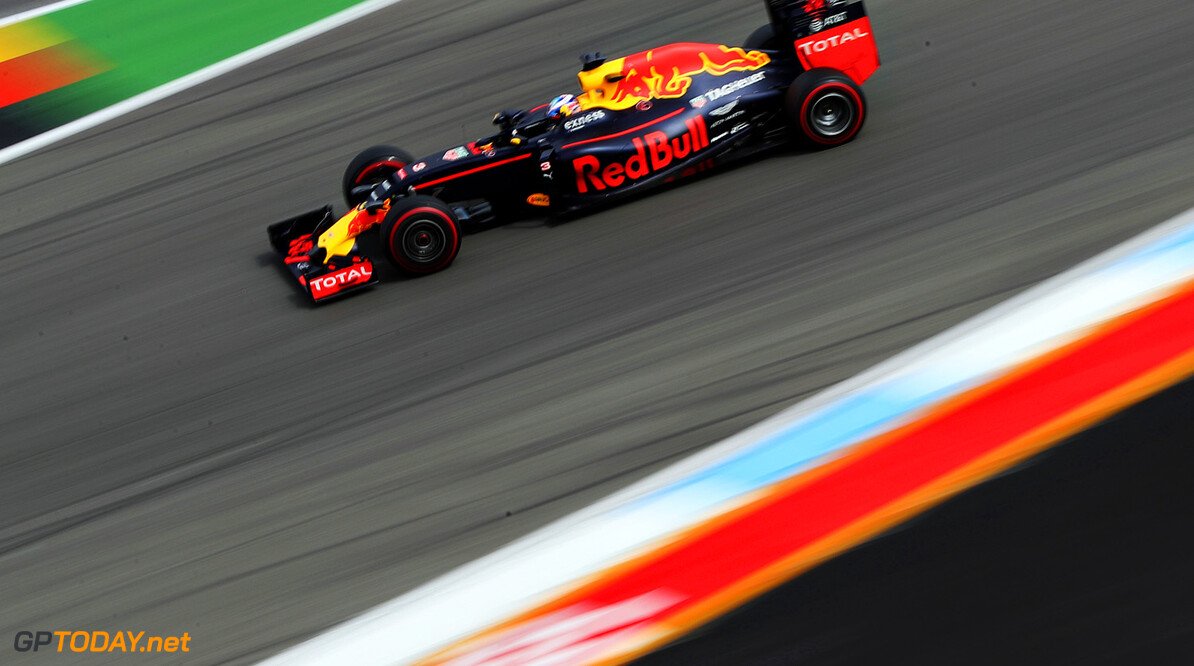 HOCKENHEIM, GERMANY - JULY 29: Daniel Ricciardo of Australia driving the (3) Red Bull Racing Red Bull-TAG Heuer RB12 TAG Heuer on track during practice for the Formula One Grand Prix of Germany at Hockenheimring on July 29, 2016 in Hockenheim, Germany.  (Photo by Mark Thompson/Getty Images) // Getty Images / Red Bull Content Pool  // P-20160729-01221 // Usage for editorial use only // Please go to www.redbullcontentpool.com for further information. //  F1 Grand Prix of Germany - Practice Mark Thompson Hockenheim Germany  P-20160729-01221