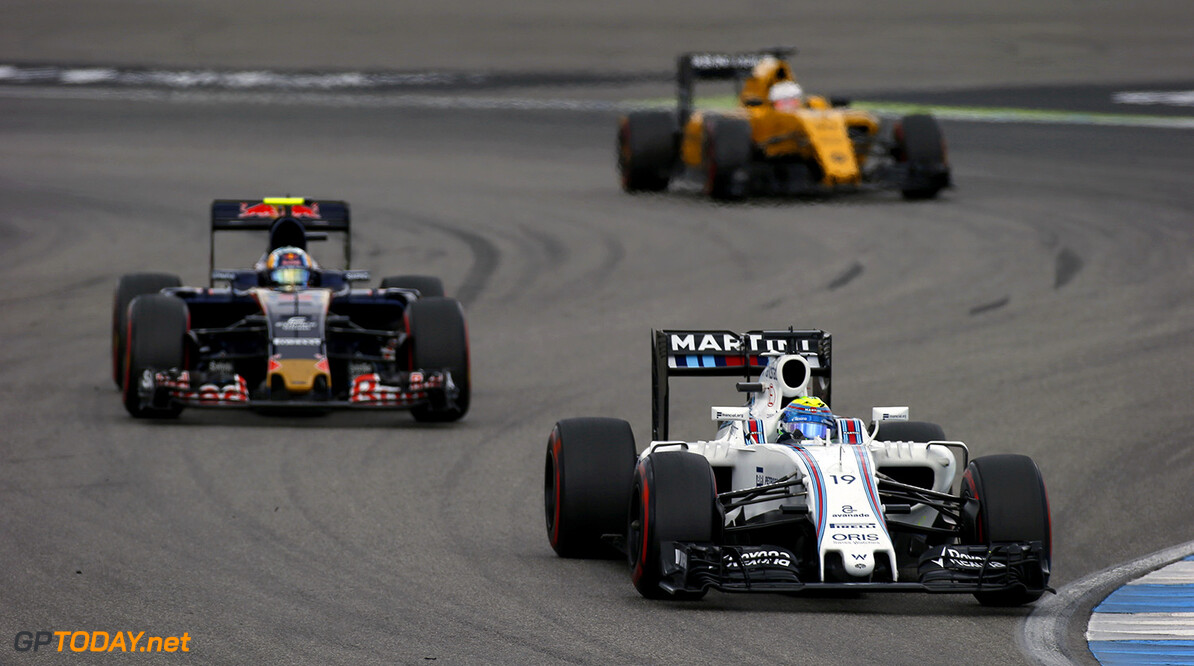 Hockenheim, Germany. Sunday 31 July 2016. Felipe Massa, Williams FW38 Mercedes, leads Carlos Sainz Jr, Toro Rosso STR11 Ferrari. Photo: Sam Bloxham/Williams ref: Digital Image _SLA2309  Steven Tee    Action