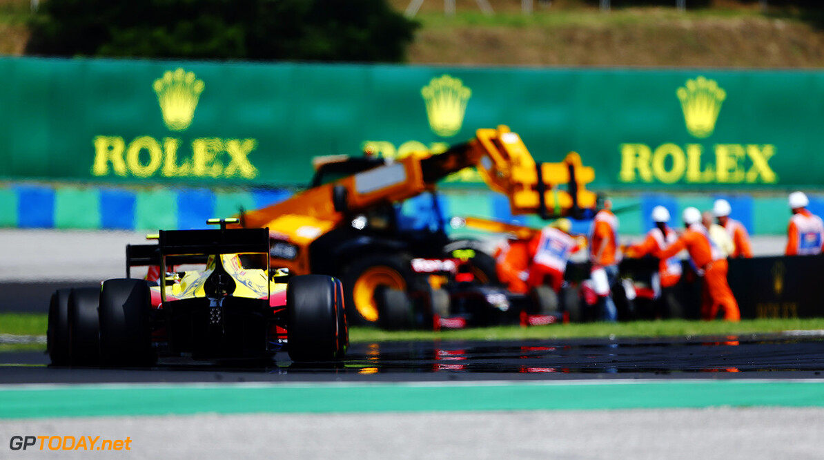 The field approaches the site of the crash 2016 GP2 Series Round 6 Hungaroring, Budapest, Hungary Sunday 24 July 2016  Photo: /GP2 Series Media Service ref: Digital Image _ONY4036