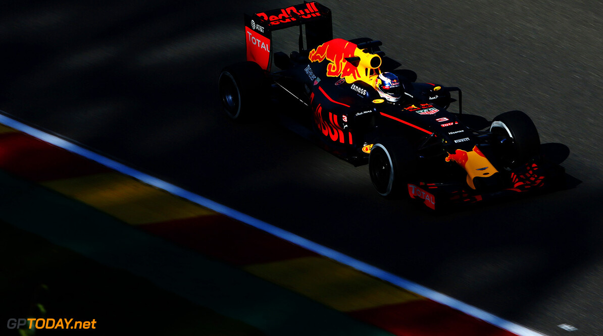 SPA, BELGIUM - AUGUST 26:  Daniel Ricciardo of Australia driving the (3) Red Bull Racing Red Bull-TAG Heuer RB12 TAG Heuer on track during practice for the Formula One Grand Prix of Belgium at Circuit de Spa-Francorchamps on August 26, 2016 in Spa, Belgium.  (Photo by Charles Coates/Getty Images) // Getty Images / Red Bull Content Pool  // P-20160826-00466 // Usage for editorial use only // Please go to www.redbullcontentpool.com for further information. //  F1 Grand Prix of Belgium - Practice Charles Coates Spa Belgium  P-20160826-00466