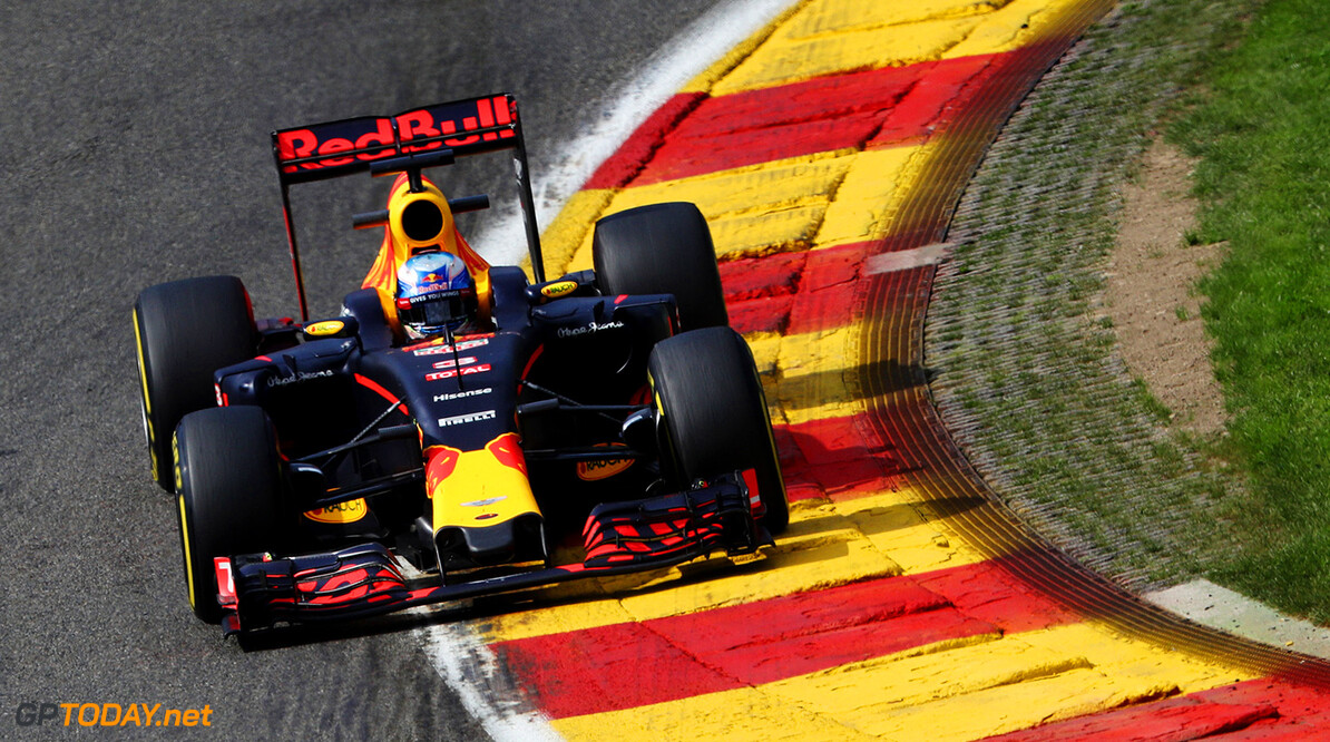 SPA, BELGIUM - AUGUST 26: Daniel Ricciardo of Australia driving the (3) Red Bull Racing Red Bull-TAG Heuer RB12 TAG Heuer on track during practice for the Formula One Grand Prix of Belgium at Circuit de Spa-Francorchamps on August 26, 2016 in Spa, Belgium.  (Photo by Mark Thompson/Getty Images) // Getty Images / Red Bull Content Pool  // P-20160826-01065 // Usage for editorial use only // Please go to www.redbullcontentpool.com for further information. //  F1 Grand Prix of Belgium - Practice Mark Thompson Spa Belgium  P-20160826-01065