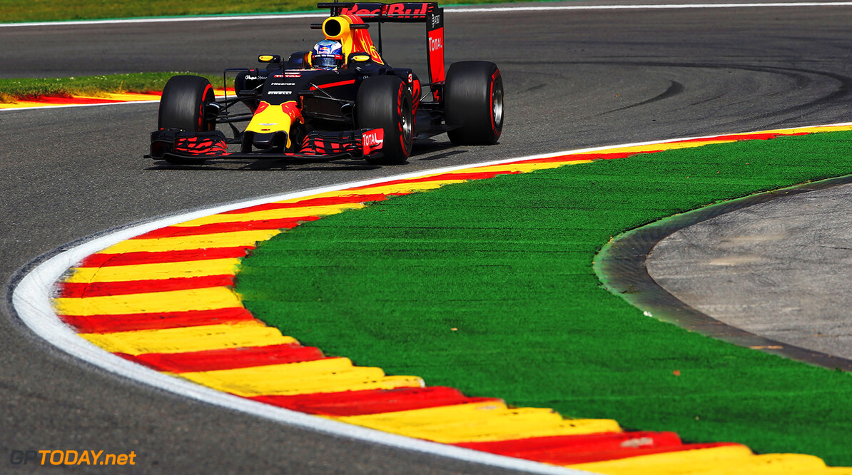 SPA, BELGIUM - AUGUST 26:  Daniel Ricciardo of Australia driving the (3) Red Bull Racing Red Bull-TAG Heuer RB12 TAG Heuer on track during practice for the Formula One Grand Prix of Belgium at Circuit de Spa-Francorchamps on August 26, 2016 in Spa, Belgium.  (Photo by Charles Coates/Getty Images) // Getty Images / Red Bull Content Pool  // P-20160826-01015 // Usage for editorial use only // Please go to www.redbullcontentpool.com for further information. //  F1 Grand Prix of Belgium - Practice Charles Coates Spa Belgium  P-20160826-01015