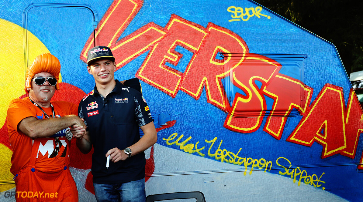 SPA, BELGIUM - AUGUST 26: Max Verstappen of Netherlands and Red Bull Racing shakes hands with a fan on a campsite after practice for the Formula One Grand Prix of Belgium at Circuit de Spa-Francorchamps on August 26, 2016 in Spa, Belgium.  (Photo by Mark Thompson/Getty Images) // Getty Images / Red Bull Content Pool  // P-20160826-01433 // Usage for editorial use only // Please go to www.redbullcontentpool.com for further information. //  F1 Grand Prix of Belgium - Practice Mark Thompson Spa Belgium  P-20160826-01433