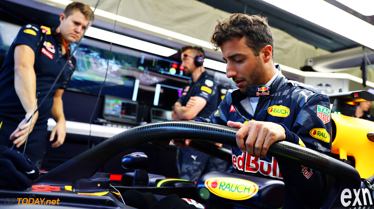 SPA, BELGIUM - AUGUST 26:  Daniel Ricciardo of Australia and Red Bull Racing in the garage before practice for the Formula One Grand Prix of Belgium at Circuit de Spa-Francorchamps on August 26, 2016 in Spa, Belgium.  (Photo by Mark Thompson/Getty Images) // Getty Images / Red Bull Content Pool  // P-20160826-00886 // Usage for editorial use only // Please go to www.redbullcontentpool.com for further information. //  F1 Grand Prix of Belgium - Practice Mark Thompson Spa Belgium  P-20160826-00886