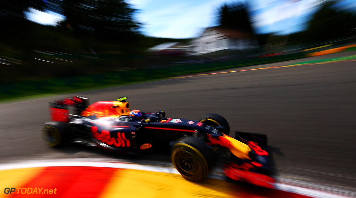 SPA, BELGIUM - AUGUST 26:  Max Verstappen of the Netherlands drives the 6 Red Bull Racing Red Bull-TAG Heuer RB12 TAG Heuer during practice for the Formula One Grand Prix of Belgium at Circuit de Spa-Francorchamps on August 26, 2016 in Spa, Belgium.  (Photo by Dan Istitene/Getty Images) // Getty Images / Red Bull Content Pool  // P-20160826-01271 // Usage for editorial use only // Please go to www.redbullcontentpool.com for further information. //  F1 Grand Prix of Belgium - Practice Dan Istitene Spa Belgium  P-20160826-01271