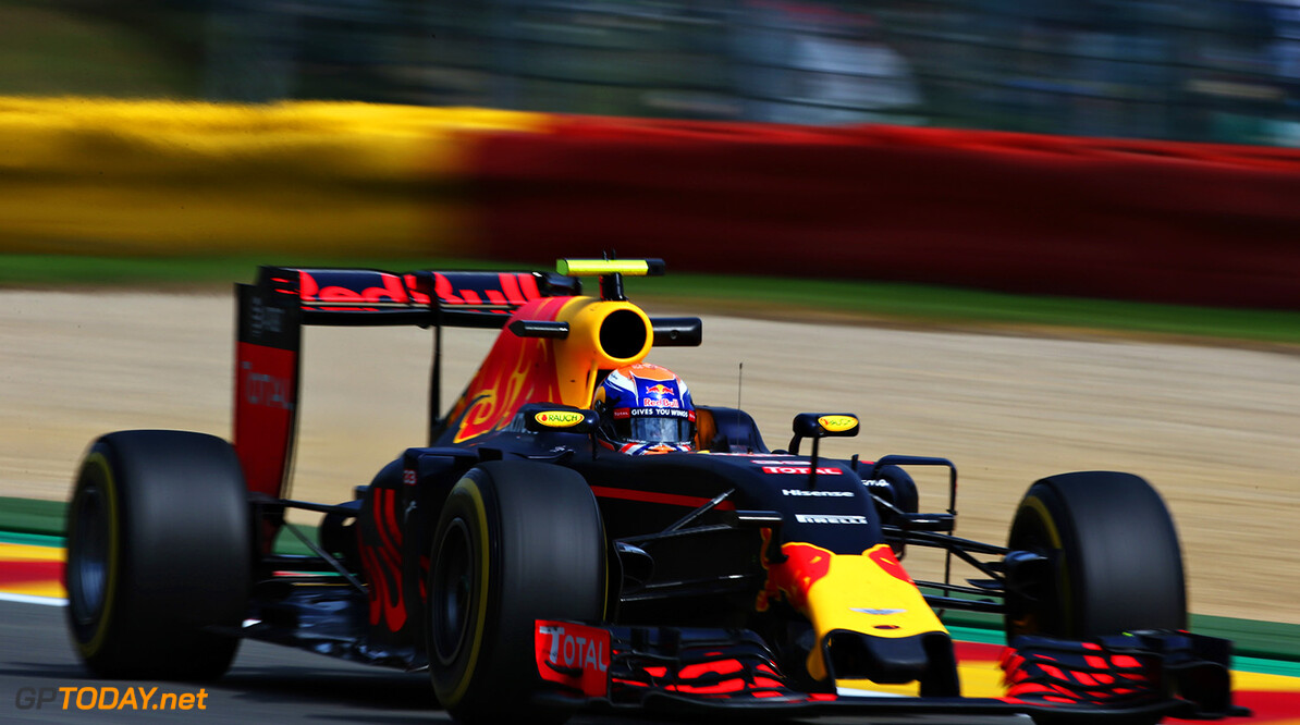 SPA, BELGIUM - AUGUST 26:  Max Verstappen of the Netherlands driving the (33) Red Bull Racing Red Bull-TAG Heuer RB12 TAG Heuer on track during practice for the Formula One Grand Prix of Belgium at Circuit de Spa-Francorchamps on August 26, 2016 in Spa, Belgium.  (Photo by Charles Coates/Getty Images) // Getty Images / Red Bull Content Pool  // P-20160826-01038 // Usage for editorial use only // Please go to www.redbullcontentpool.com for further information. //  F1 Grand Prix of Belgium - Practice Charles Coates Spa Belgium  P-20160826-01038