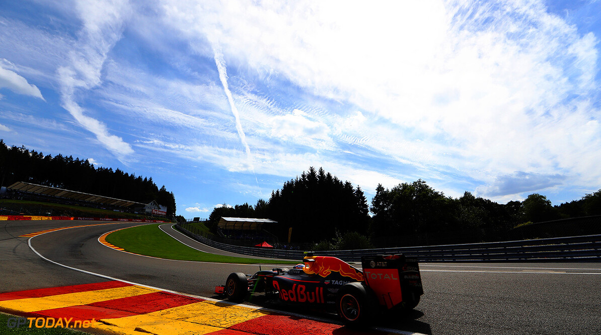 SPA, BELGIUM - AUGUST 26: Max Verstappen of the Netherlands driving the (33) Red Bull Racing Red Bull-TAG Heuer RB12 TAG Heuer on track during practice for the Formula One Grand Prix of Belgium at Circuit de Spa-Francorchamps on August 26, 2016 in Spa, Belgium.  (Photo by Mark Thompson/Getty Images) // Getty Images / Red Bull Content Pool  // P-20160826-00969 // Usage for editorial use only // Please go to www.redbullcontentpool.com for further information. //  F1 Grand Prix of Belgium - Practice Mark Thompson Spa Belgium  P-20160826-00969