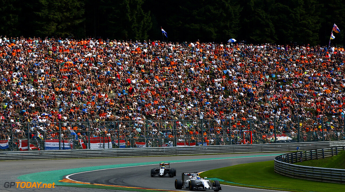 Spa-Francorchamps, Spa, Belgium.. Sunday 28 August 2016. Felipe Massa, Williams FW38 Mercedes, leads Sergio Perez, Force India VJM09 Mercedes. Photo: Andrew Hone/Williams ref: Digital Image _ONY1555      Action