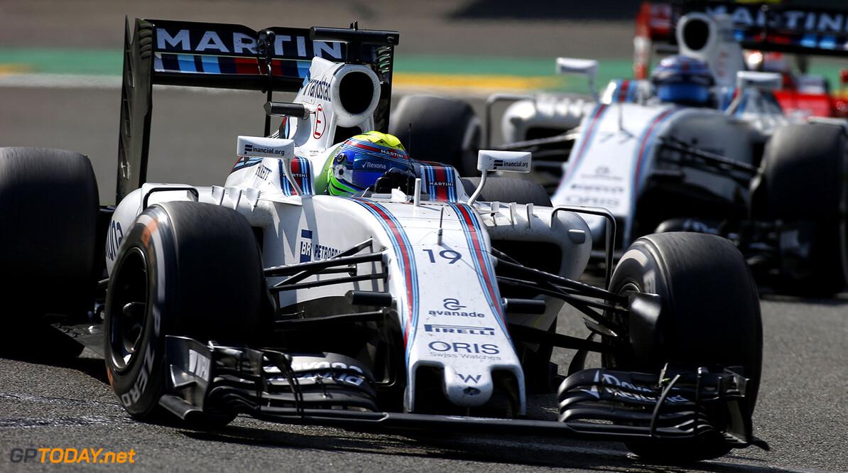 Spa-Francorchamps, Spa, Belgium.. Sunday 28 August 2016. Felipe Massa, Williams FW38 Mercedes, leads Valtteri Bottas, Williams FW38 Mercedes. Photo: Sam Bloxham/Williams ref: Digital Image _SLA5887      Action