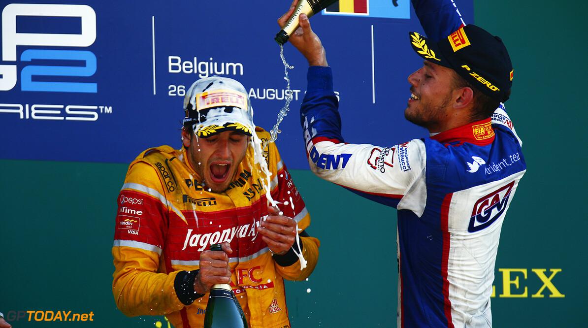 2016 GP2 Series Round 8.  Spa-Francorchamps, Spa, Belgium. Sunday 28 August 2016. Antonio Giovinazzi (ITA, PREMA Racing), Luca Ghiotto (ITA, Trident)  Photo: Zak Mauger/GP2 Series Media Service. ref: Digital Image _L0U2147   Zak Mauger    Race Two 2 Sprint portrait podium