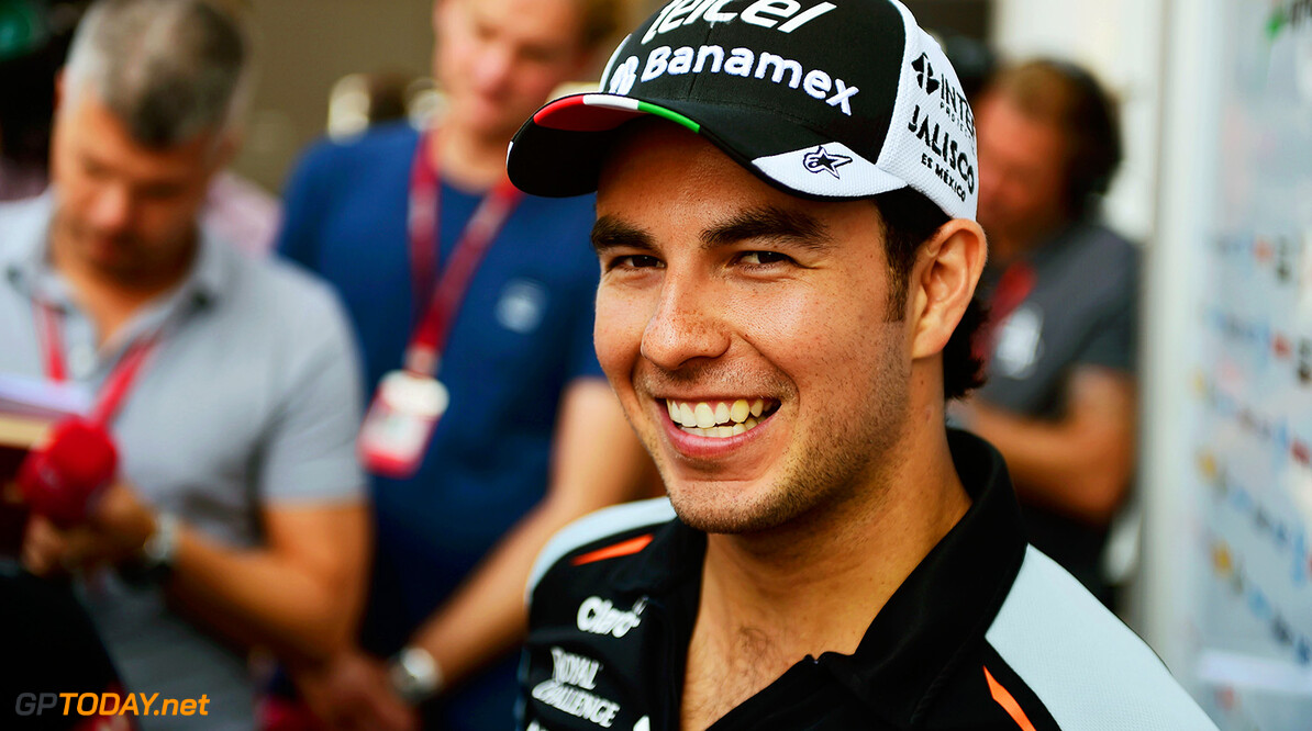 Formula One World Championship Sergio Perez (MEX) Sahara Force India F1 with the media. Italian Grand Prix, Thursday 1st September 2016. Monza Italy. Motor Racing - Formula One World Championship - Italian Grand Prix - Preparation Day - Monza, Italy James Moy Photography Monza Italy  Formula One Formula 1 F1 GP Grand Prix Circuit Italy Italian Monza Autodromo di Monza JM617 Sergio P?rez Sergio P?rez Mendoza Checo Perez Checo P?rez Portrait GP1614a