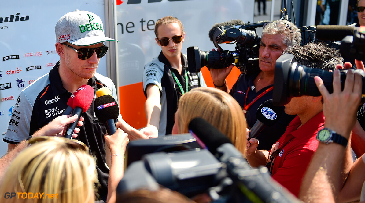 Formula One World Championship Nico Hulkenberg (GER) Sahara Force India F1 with the media. Italian Grand Prix, Thursday 1st September 2016. Monza Italy. Motor Racing - Formula One World Championship - Italian Grand Prix - Preparation Day - Monza, Italy James Moy Photography Monza Italy  Formula One Formula 1 F1 GP Grand Prix Circuit Italy Italian Monza Autodromo di Monza JM617 Hulkenberg H?lkenberg Huelkenberg Portrait GP1614a