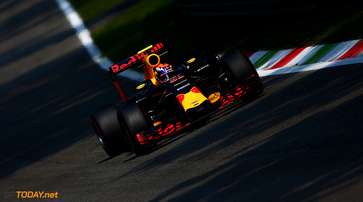 MONZA, ITALY - SEPTEMBER 02:  Max Verstappen of the Netherlands driving the (33) Red Bull Racing Red Bull-TAG Heuer RB12 TAG Heuer on track  during practice for the Formula One Grand Prix of Italy at Autodromo di Monza on September 2, 2016 in Monza, Italy.  (Photo by Dan Istitene/Getty Images) // Getty Images / Red Bull Content Pool  // P-20160902-13197 // Usage for editorial use only // Please go to www.redbullcontentpool.com for further information. //  F1 Grand Prix of Italy - Practice Dan Istitene Monza Italy  P-20160902-13197