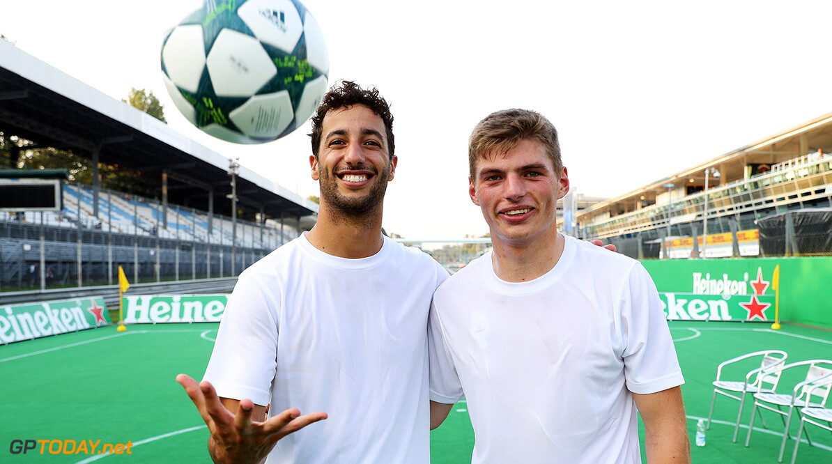 MONZA, ITALY - SEPTEMBER 01: Max Verstappen of Netherlands and Red Bull Racing and Daniel Ricciardo of Australia and Red Bull Racing after the Heineken Champions of the Grid Charity football match during previews for the Formula One Grand Prix of Italy at Autodromo di Monza on September 1, 2016 in Monza, Italy.  (Photo by Mark Thompson/Getty Images) // Getty Images / Red Bull Content Pool  // P-20160902-13763 // Usage for editorial use only // Please go to www.redbullcontentpool.com for further information. //  F1 Grand Prix of Italy - Previews Mark Thompson Monza Italy  P-20160902-13763