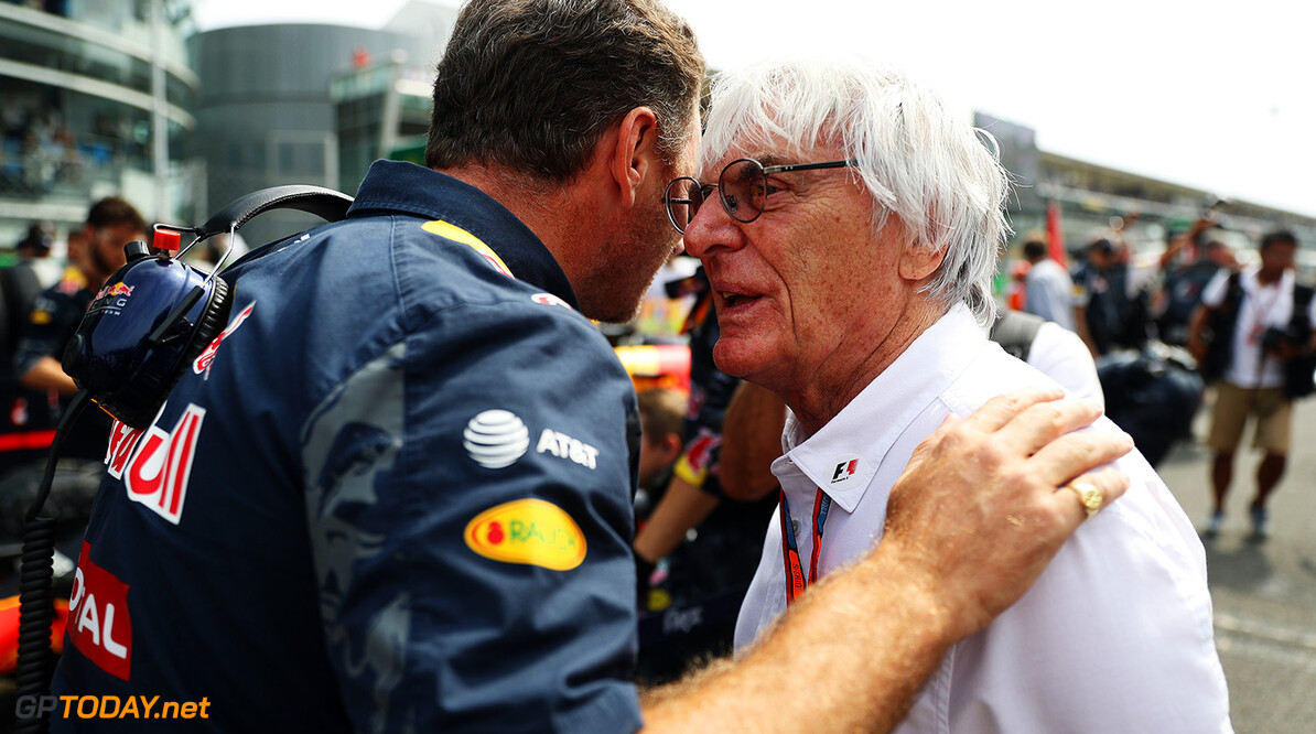 MONZA, ITALY - SEPTEMBER 04: Red Bull Racing Team Principal Christian Horner talks to F1 supremo Bernie Ecclestone during the Formula One Grand Prix of Italy at Autodromo di Monza on September 4, 2016 in Monza, Italy.  (Photo by Mark Thompson/Getty Images) // Getty Images / Red Bull Content Pool  // P-20160904-01041 // Usage for editorial use only // Please go to www.redbullcontentpool.com for further information. //  F1 Grand Prix of Italy Mark Thompson Monza Italy  P-20160904-01041
