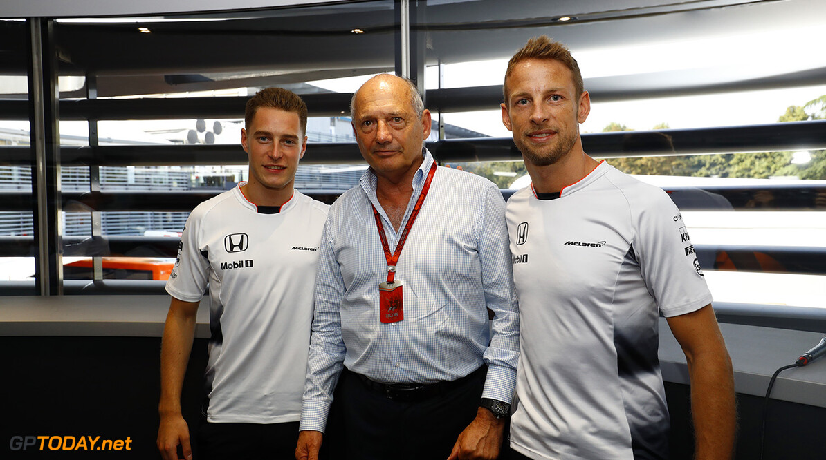 Ron Dennis, Executive Chairman, McLaren Automotive, with Stoffel Vandoorne, Test and Reserve Driver. and Jenson Button at the announcement that Jenson will step down from a race seat in 2017. Stoffel Vandoorne will step up into a race seat.  Steven Tee